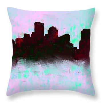 Boston Skyline Sky Blue  Throw Pillow by Enki Art