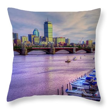 Boston Skyline Sunset Throw Pillow