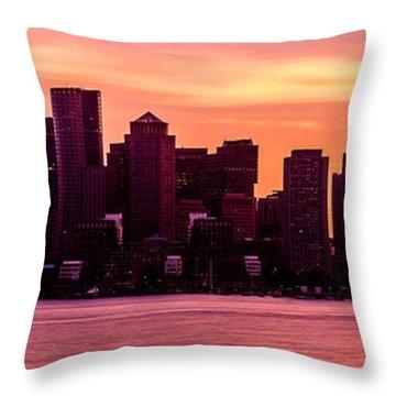 Boston Skyline Sunset Panoramic Photo Throw Pillow