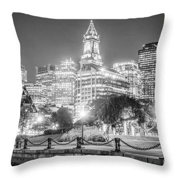 Boston Skyline With Christopher Columbus Park Throw Pillow