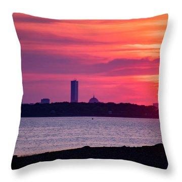 Boston Skyline Worlds End Throw Pillow