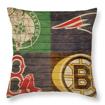Boston Sports Teams Barn Door Throw Pillow