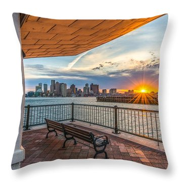 Boston Sunset From Piers Park East Boston Ma Throw Pillow