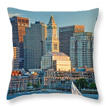 Boston Sunset Sail Throw Pillow
