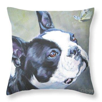 boston Terrier butterfly Throw Pillow by Lee Ann Shepard