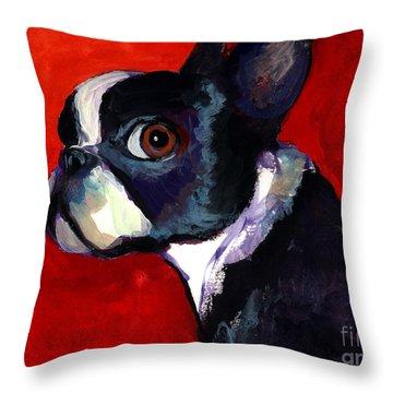 Boston Terrier Dog Portrait 2 Throw Pillow by Svetlana Novikova