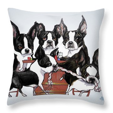 Boston Terrier - Dogs Playing Poker Throw Pillow