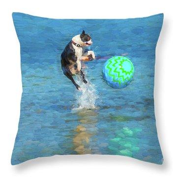 Boston Terrier Jump - Painterly Throw Pillow