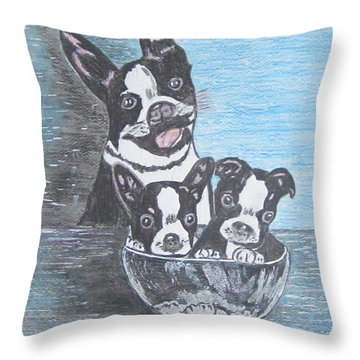 Throw Pillow featuring the painting Boston Terrier Mom And Pups by Kathy Marrs Chandler