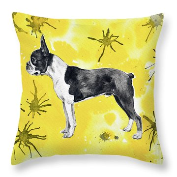 Throw Pillow featuring the painting Boston Terrier On Yellow by Zaira Dzhaubaeva