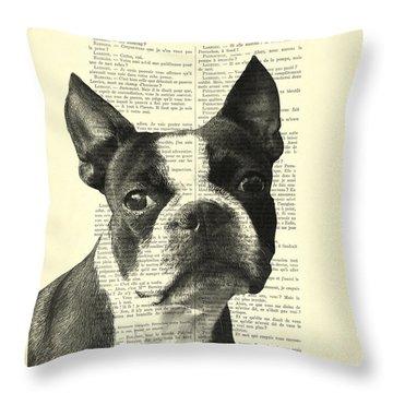 Boston Terrier Portrait In Black And White Throw Pillow