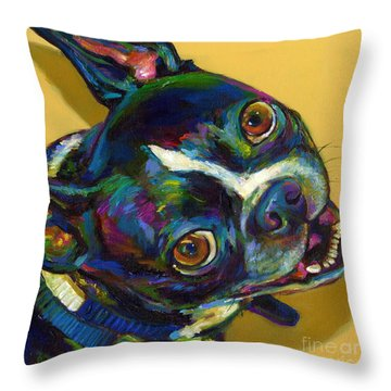 Throw Pillow featuring the digital art Boston Terrier by Robert Phelps