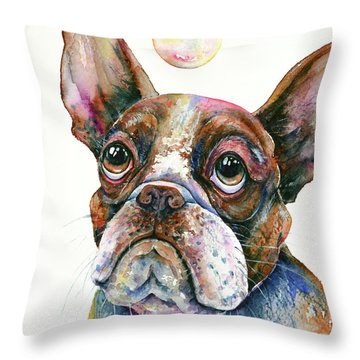Throw Pillow featuring the painting Boston Terrier Watching A Soap Bubble by Zaira Dzhaubaeva