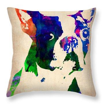 Boston Terrier Watercolor Throw Pillow