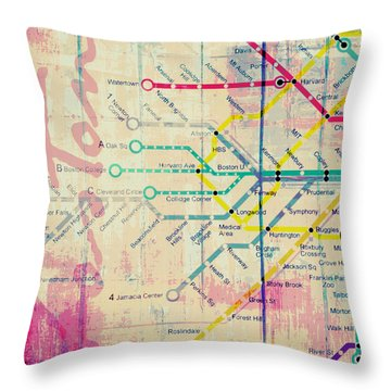 Boston Transit The T V3 Throw Pillow by Brandi Fitzgerald