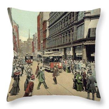 Boston: Washington Street Throw Pillow by Granger