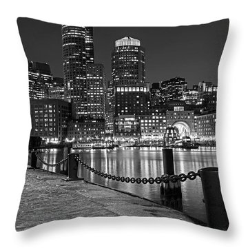 Boston Waterfront Boston Skyline Black And White Throw Pillow