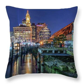 Boston's Custom House Tower From Long Wharf Throw Pillow