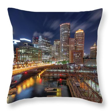 Boston's Skyline At Night Throw Pillow