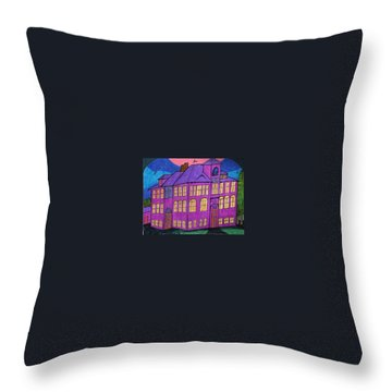 Throw Pillow featuring the painting Boswell School. by Jonathon Hansen