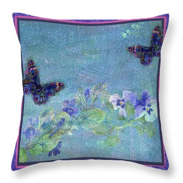 Botanical And Colorful Butterflies Throw Pillow