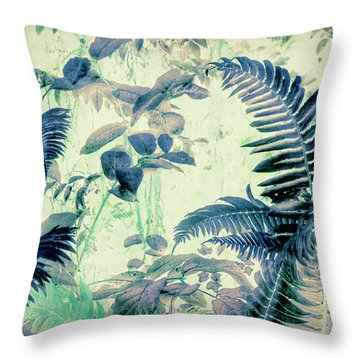 Throw Pillow featuring the mixed media Botanical Art - Fern by Bonnie Bruno