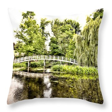 Botanical Bridge - Monet Throw Pillow