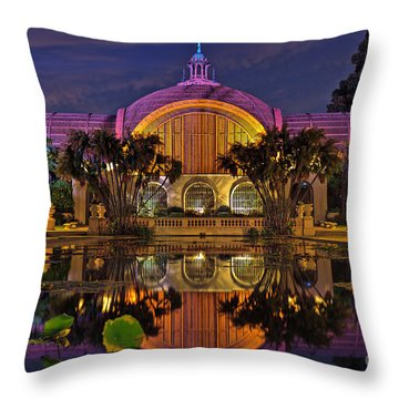 Botanical Building At Night In Balboa Park Throw Pillow