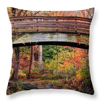 Botanical Gardens Arched Bridge Asheville During Fall Throw Pillow