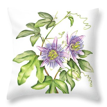 Botanical Illustration Passion Flower Throw Pillow