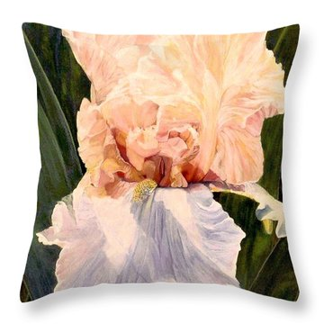 Throw Pillow featuring the painting  Botanical Peach Iris by Laurie Rohner