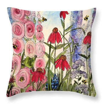 Throw Pillow featuring the painting Botanical Wildflowers by Laurie Rohner