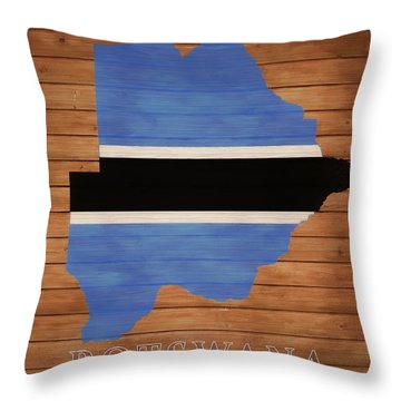 Botswana Rustic Map On Wood Throw Pillow