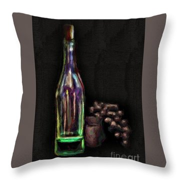 Throw Pillow featuring the photograph Bottle And Grapes by Walt Foegelle