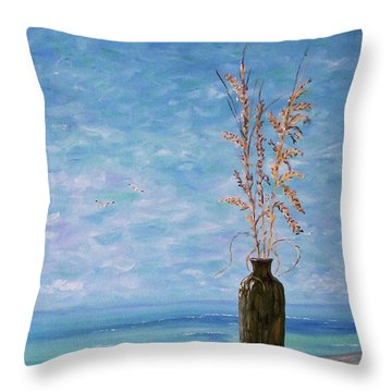 Bottle And Sea Oats Throw Pillow