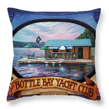 Bottle Bay Yacht Club Throw Pillow