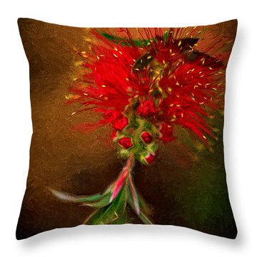 Bottle Brush Flower Throw Pillow