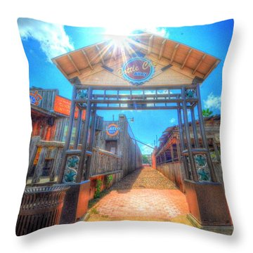 Bottle Cap Alley Throw Pillow