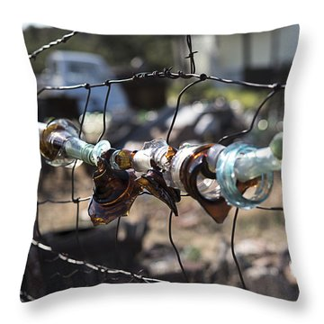 Bottle Fence Throw Pillow