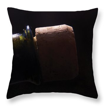 bottle top and Cork Throw Pillow