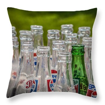 Bottle Tops Throw Pillow by Ray Congrove