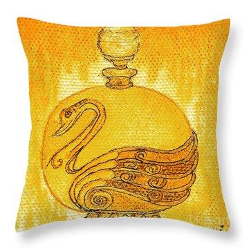 Bottled Gold Swan Throw Pillow