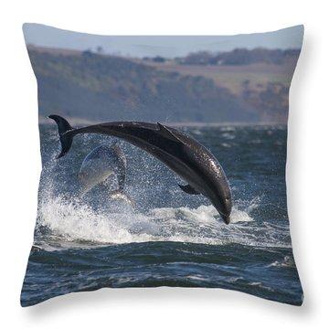 Bottlenose Dolphins - Scotland  #25 Throw Pillow