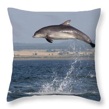 High Jump - Bottlenose Dolphin  - Scotland #42 Throw Pillow