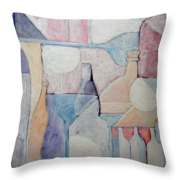 Bottles And Glasses Throw Pillow by Ana Maria Edulescu
