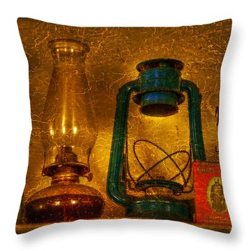 Bottles And Lamps Throw Pillow by Evelina Kremsdorf