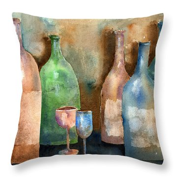 Bottles Throw Pillow by Arline Wagner
