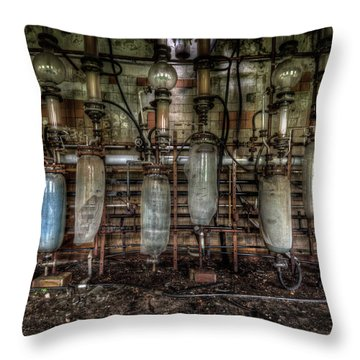 Throw Pillow featuring the digital art Bottles Hanging On The Wall  by Nathan Wright