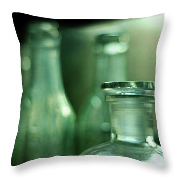 Bottles In The Window Throw Pillow by Rebecca Sherman