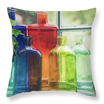 Bottles In The Window Throw Pillow
